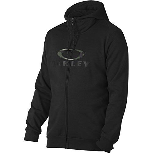 Oakley Men's Combat FZ Hoodie, Blackout, - Oakley Logos