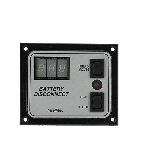 Intellitec 01-00066-005 OEM RV Single Battery Disconnect Panel Switch - With Voltmeter Display, Black Bezel/Silver Inlay