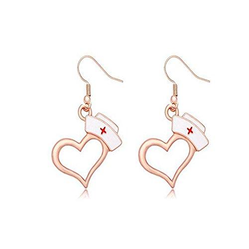 Gem Top Hat - TUSHUO Enamel Nurse Hat Natural Gemstone Dangle Earrings for Nurse Medical Students Gift (Rose Gold)
