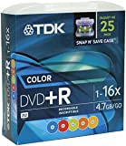 Tdk DVD+R47FF25MC Snap-&-Save DVD+R (Colors; 25-pk)