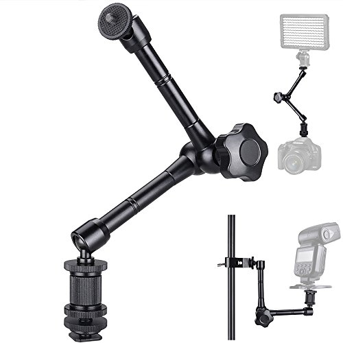 FOTYRIG 11 Magic Arm, Articulating Friction Arm with Hot Shoe Mount Adapter for DSLR Camera Rig, LCD Monitor, DV Monitor, LED Lights, Flash Lights, Microphones, DJI Osmo,Smart Phone and More