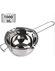 Hengdai Stainless Steel Double Boiler Pot with1000ML for Melting Chocolate, Candy and Candle Making (18/8 Steel, Universal Insert) (1000ML)