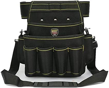 ツールベルト 調節可能なベルト、ショルダーストラップツールポーチホルダーと電気技師配管工のツールバッグ防水オックスフォード 作業効率を向上 (Color : Black, Size : 22x14x30cm)