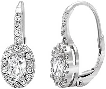 CLEARANCE 18K White Gold Over Sterling Silver Cubic Zirconia Half Hoop Earring
