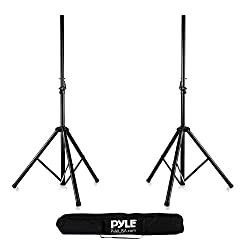 Pyle Universal Dual PA DJ Tripod 2 Speaker Stand Kit With Adjustable Height & Storage Bag Constructed with Heavy Duty Durable Steel and Lightweight for Easy Mobility Safety PIN Screw Locks PSTK107 from SOUFV - pallet ordering
