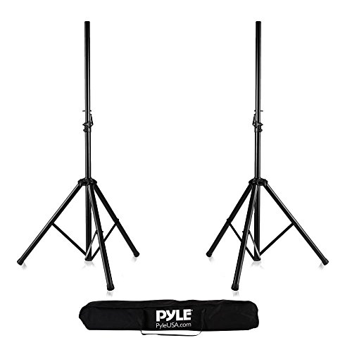 (Pyle Universal Dual PA DJ Tripod 2 Speaker Stand Kit  with Adjustable Height  & Storage Bag  Constructed with Heavy Duty Durable Steel and Lightweight for Easy Mobility Safety PIN Screw Locks PSTK107 )