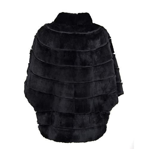 Vera Unica Rasato Comfort Pelliccia Giacca Taglia Ikonit Donna Mantella Poncho Lapin Comoda Nero Fit wO1w4gXq