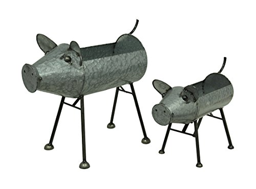 (Galvanized Metal Set of 2 Indoor/Outdoor Pig Planter Sculptures)