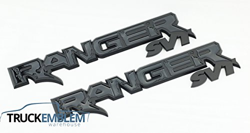 2 NEW PAIR (SET) OF CUSTOM MATTE BLACK FORD RANGER RAPTOR STYLE BADGES EMBLEMS