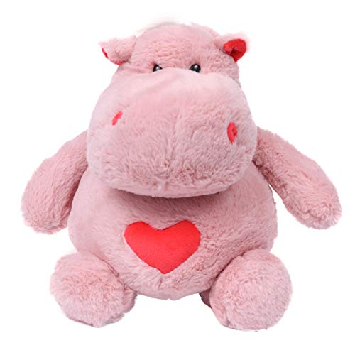 Amosfun Hippo Stuffed Animal Baby Fluffy Doll Plush Figures Toy Gifts for Kids Girlfriend Birthday Valentine (Pink)