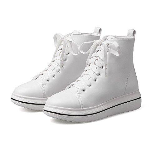 AllhqFashion Damen Mitte-Spitze Schnüren Weiches Material Niedriger Absatz Rund Zehe Stiefel, Weiß, 43