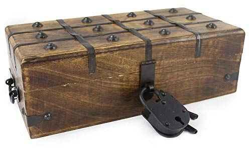 Wooden Treasure Chest Decorative Box Trunk Antique Style Lock Iron Skeleton Key By WellPackBox 12 x 6 x 4 by Well Pack Box