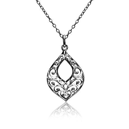 Black Flashed Sterling Silver Two-Tone Diamond-cut Filigree Open Teardrop Necklace