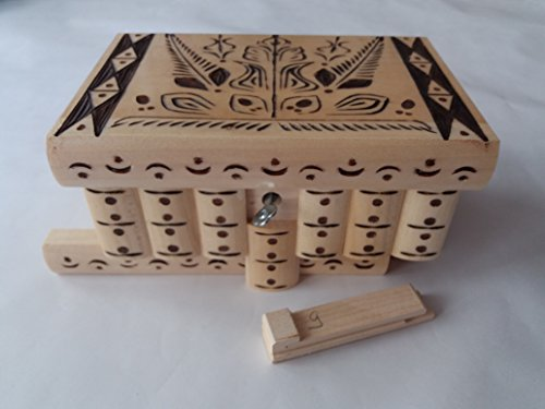 Big wooden magic mystery puzzle box secret tricky storage beautiful special handcarved jewelry box case (Natural with brown carving) - Carving Natural