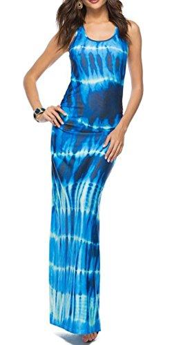 Tie Girocollo dye Cromoncent Donne Vestito Estate Maxi Slim Maniche Blue1 Fit Senza Ia8xq0R