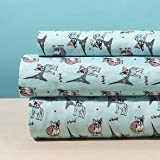 Luxury Linen Collection 4 Printed Sheet with Pillowcase Paris Eiffel Tower and Dogs Design Aqua Gray Kids/Teens (Full)