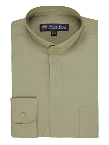 Men's Long-sleeve Banded Collar Shirt - Olive XXL(18-18.5 Neck) Sleeve (Banded Collar Jacket)