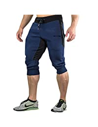 MECH-ENG Men's 3/4 Joggers Pants Workout Gym Capri Shorts Zipper Pockets