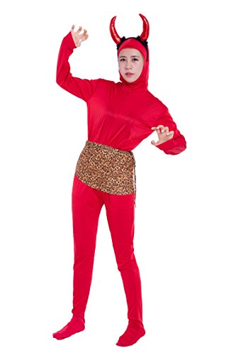 Female Loincloth Costume (Cosplay red (angle + loincloth of demon) red demon costume Zentai three-piece set (SS01-2H + angle + RM100) women size L (japan import))