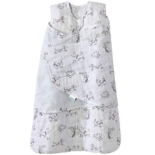 (Halo 100% Cotton Muslin Sleepsack Swaddle Wearable Blanket, Grey Dogs, Newborn )