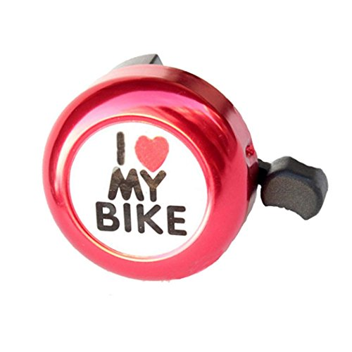 (Feccile S-ports & Fit-ness Cycling Bicycle Bell Safety Alarm Bike Metal Handlebar Horn for Kids Youth Adults,1Pcs (Red))