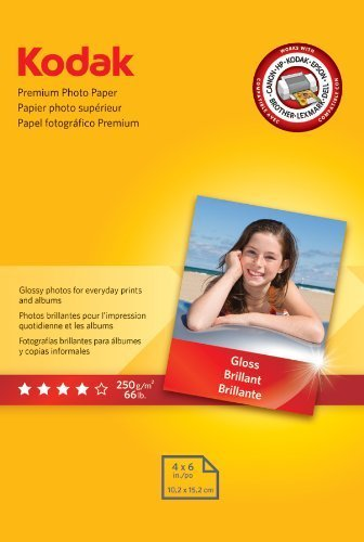 Kodak Premium Photo Paper, 4 x 6 Inches, Gloss, 5 Packs of 60 Sheets, 300 Sheets Total (8154106), Office Central