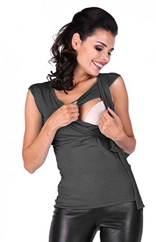 Zeta Ville Premamá - Camiseta de lactancia efecto 2 en 1 - para mujer - 094c Grafito