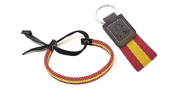 Tiendas LGP - Pack de Llavero Guardia Civil Lona Bandera de España + Pulsera Surfera de Cuero e Hilo Trenzada Colores Bandera España: Amazon.es: Equipaje