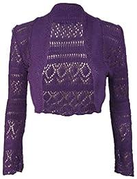 RIDDLED WITH STYLE Womens Long Sleeve Crochet Knitted Bolero Shrug