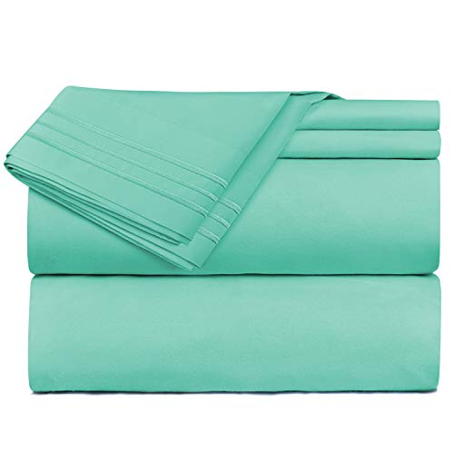 Nestl Bedding 4 Piece Sheet Set - 1800 Deep Pocket Bed Sheet Set - Hotel Luxury Double Brushed Microfiber Sheets - Deep Pocket Fitted Sheet, Flat Sheet, Pillow Cases, Queen - Mint