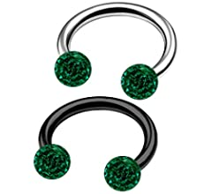 MATIGA 2Pcs Steel Black Anodized 16g 5//16 8mm Barbell Earrings Piercing Jewelry Eyebrow Daith Rook 3mm Ferido Crystal More Choices