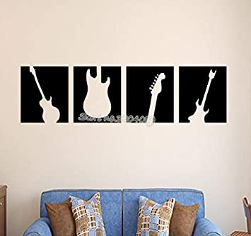 Negro silueta guitarra etiqueta de la pared de vinilo removible ...