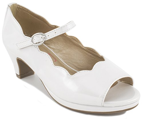 Jessica Simpson Kids Becca Girls' Toddler-Youth Pump 3 M US Little Kid White-Patent Youth White Patent Footwear