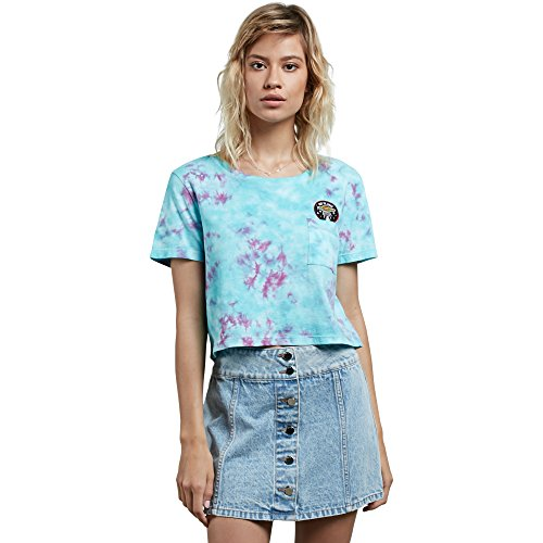Core Junior Skis - Volcom Junior's Georgia May Jagger Core Tie Dye Short Sleeve Shirt, Turkish Blue, L