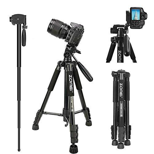 "Zomei Q222 58"" Travel Camera Tripod Portable Lightweight Aluminum Monopod for Sony Nikon Canon Olympus DV DSLR SLR Camera with Carry Case"
