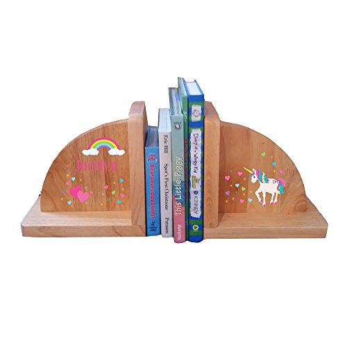 Personalized Unicorn Natural Childrens Wooden Bookends by MyBambino