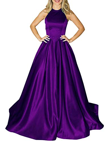 Bbcbridal Womens Halter Long Satin Prom Dress Open Back Beaded