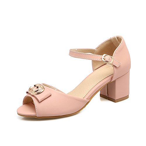 Pink Sandalias Toe de Bloque Peep Tacones Mujer amp;X Qin 7RxBg