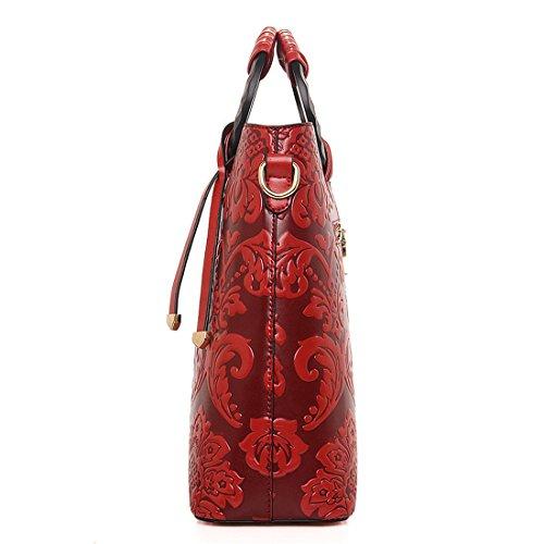 Chinese Retro Messenger Crossbody Bag green Howoo PU Embossed Girls Bag for Handbag red Vintage Women Shoulder Style TIzq5q