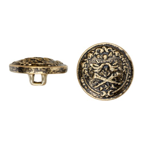 (C&C Metal Products 5026 Dueling Knights Metal Button, Size 24 Ligne, Antique Gold, 72-Pack)
