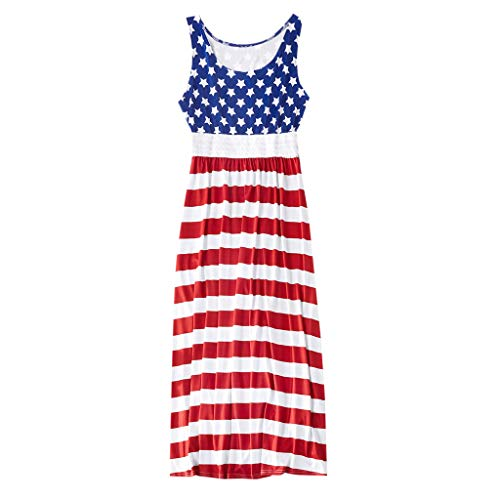 Little Me Plaid Dress Shirt - AutumnFall Mommy&Me Women Girls Family Dress Summer Sleeveless American Flag 4th of July Dress Independence Day Maxi Dress (L, Blue)