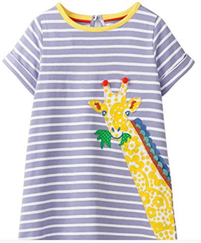 WRHJZW Baby Girls Giraffe Stripe Cotton Dress Short Sleeves Casual Summer Applique Skirt ()