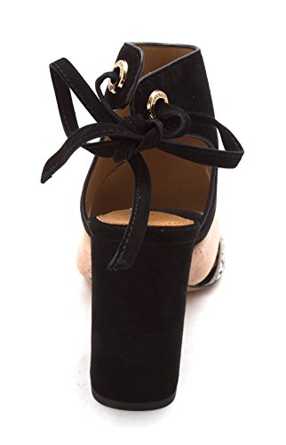 Coach Womens Minetta Suede Open Toe Casual Slingback Sandals Black White/Black Land Snk/Suede ADSFI
