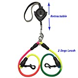 Double Dog Leash - Double Dual Dog Leashes Retractable 4.6ft, Slip Doggy Lead Dog Leash for 2 or 1 Dogs, No Lock Mini Dog Leash for Small Medium Large Dogs, Dual Reflective Belt Dog Traction Rope with Soft Hand Grip