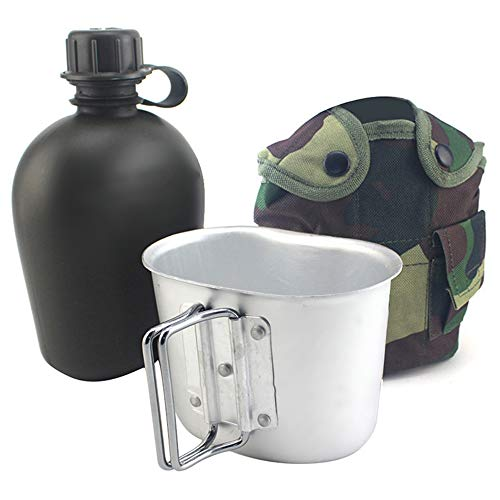 Stainless Steel Military Canteen Kettle Cup Kit, Portable Outdoor Tactical Army Cup & Green Nylon Cover Waist Belt for Camping/Hiking/Travel-Jungle Camouflage by Carejoy