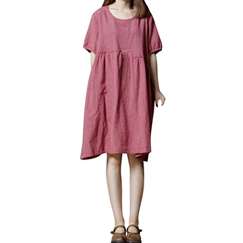 (Gallity Newest Women Dress Short Sleeve O Neck Cotton Linen Loose Bohe Casual Dress with Pocket For Party (L, Pink))