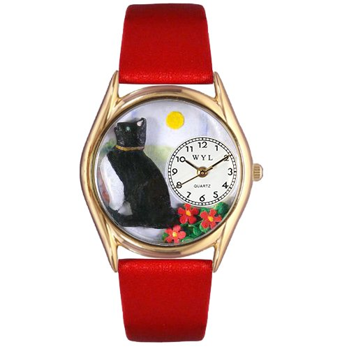 Whimsical Watches Kids' C0120009 Classic Gold Basking Cat Red Leather And Goldtone (Gold Tone Cat)
