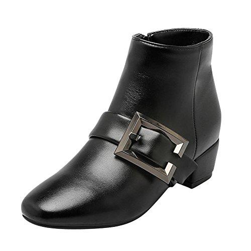Carolbar Womens Zip Buckle Square Toe Fashion Mid Heel Short Boots Black