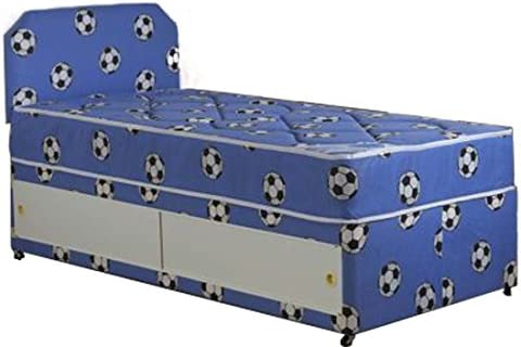 Just Beds Blue Single Football Divan Bed Set With Matching Headboard And Slider Storage (3x6'3)
