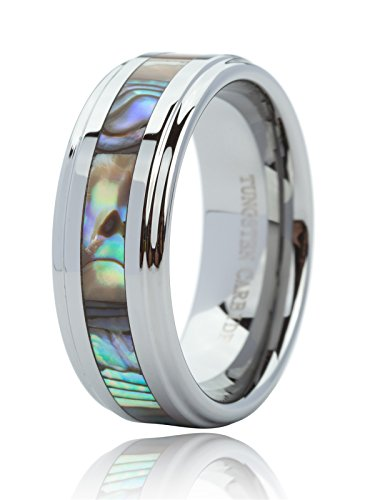 Just Lsy 8mm Tungsten Ring for Men & Women Engagement Wedding Band Abalone Shell Inlay Polished Finish Step Edge Comfort Fit Size 8.5 Lsy-015 by Just Lsy
